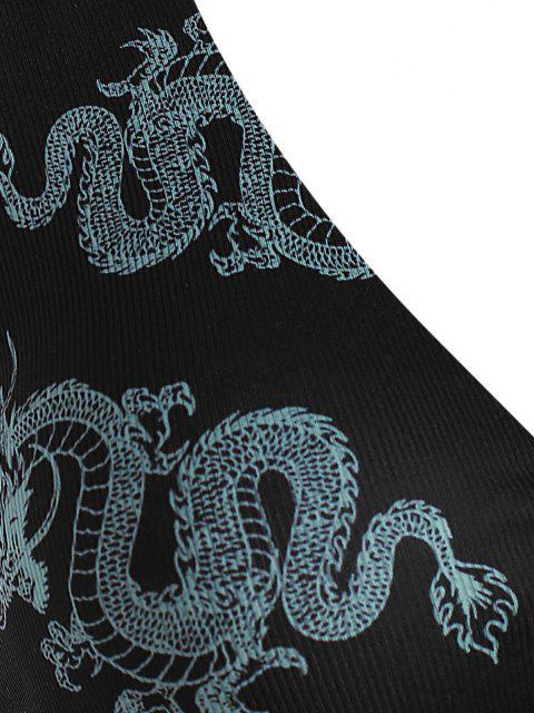 ZAFUL Haut de Maillot de Bain Superposé Dragon Côtelé de Grande Taille - Noir XXXL Mobile