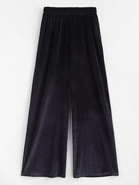 best Pull On Velvet Wide Leg Casual Pants - BLACK ONE SIZE Mobile