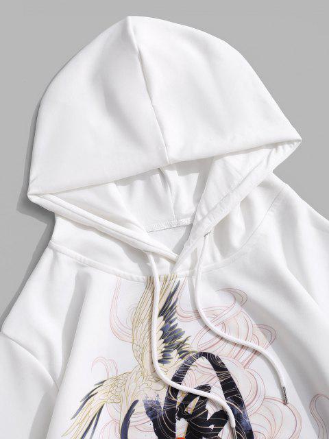 online Kangaroo Pocket Crane Print Oriental Hoodie - WHITE 2XL Mobile