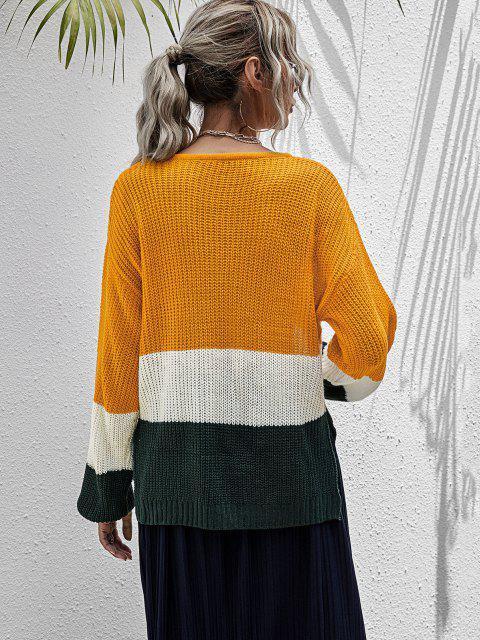 Pull Epais en Blocs de Couleurs - Orange L Mobile