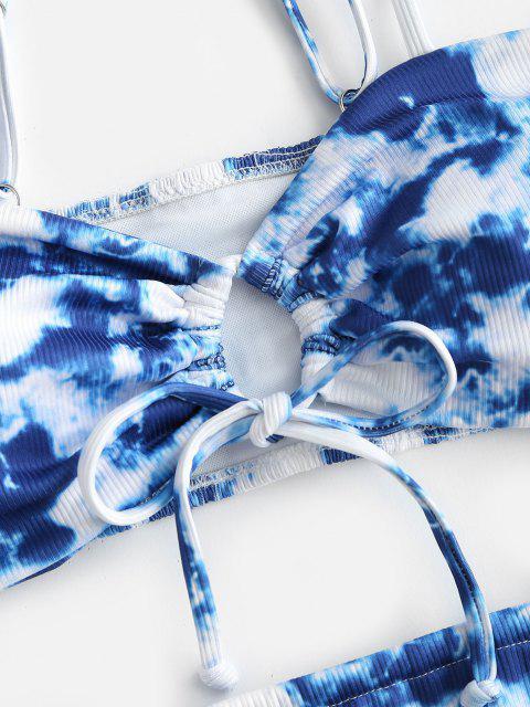 trendy ZAFUL Tie Dye Ribbed Shirred Back Tanga Bikini Swimwear - BLUE L Mobile