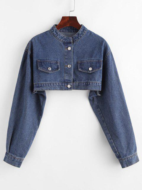 Drop Shoulder Flap Detail Cropped Jean Jacket - ازرق غامق S Mobile