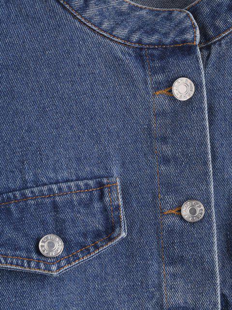 Veste Courte à Goutte Epaule à Rabat Détaillé en Jean - Bleu profond L Mobile