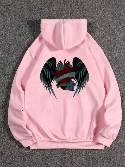 shop I Love You Rose Heart Wing Graphic Fleece Hoodie - PINK S Mobile