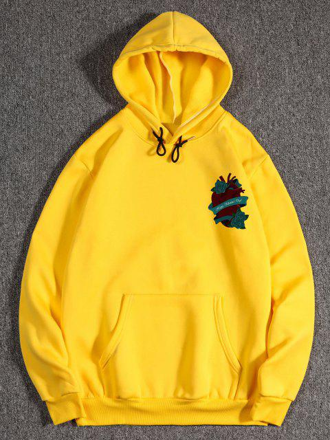 hot I Love You Rose Heart Wing Graphic Fleece Hoodie - BRIGHT YELLOW S Mobile
