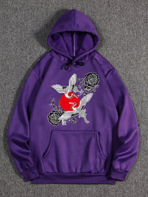 outfits Chinoiserie Flying Crane Red Sun Flower Print Fleece Hoodie - PURPLE IRIS L Mobile