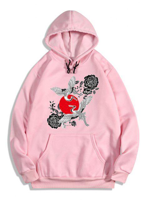 womens Chinoiserie Flying Crane Red Sun Flower Print Fleece Hoodie - FLAMINGO PINK S Mobile