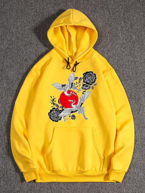 affordable Chinoiserie Flying Crane Red Sun Flower Print Fleece Hoodie - RUBBER DUCKY YELLOW S Mobile