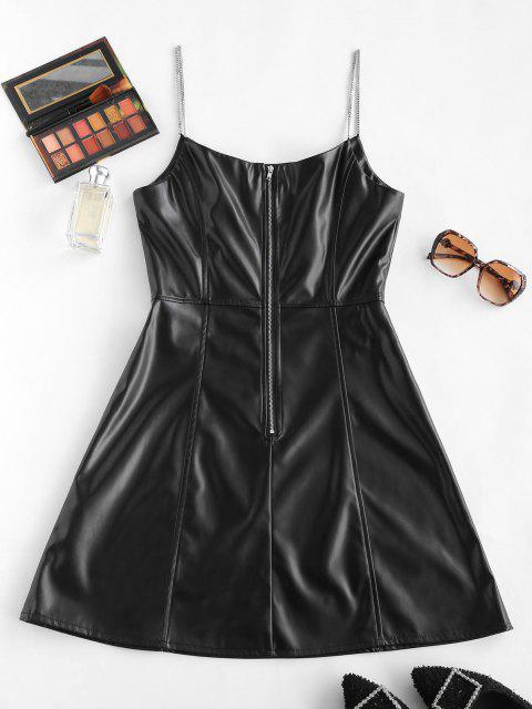 hot Faux Leather Chain Strap Zip Back Cami Dress - BLACK S Mobile