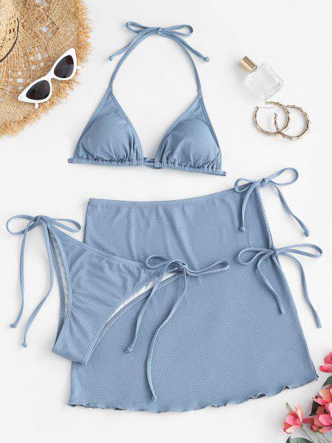 women's ZAFUL Halter Textured Tie Three Piece Bikini Swimsuit - LIGHT BLUE S Mobile