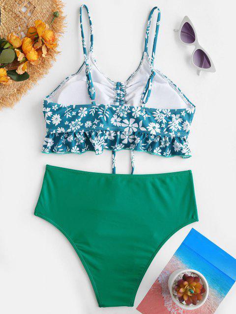 Ditsydruck Geraffte Rüschen Tankini Badebekleidung - Grün S Mobile