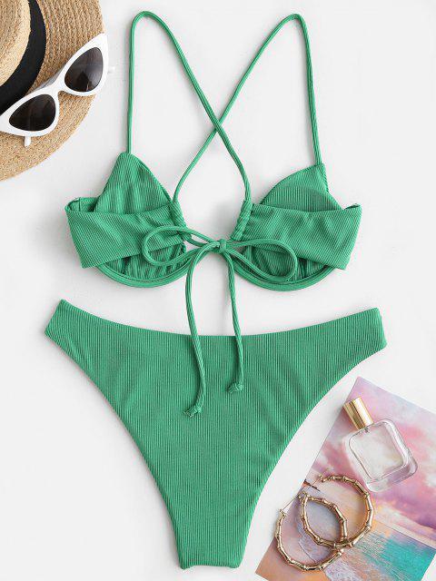 ZAFUL Ribbed Crisscross Back Monowire Bikini Swimwear - اخضر فاتح S Mobile
