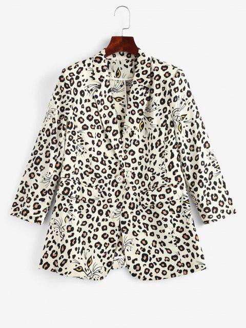 women Leopard Padded Shoulder One Button Blazer - LIGHT COFFEE L Mobile