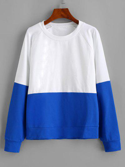 ZAFUL Camisa Suéter De Mangas Reglã Com Blocos De Cores - Branco M