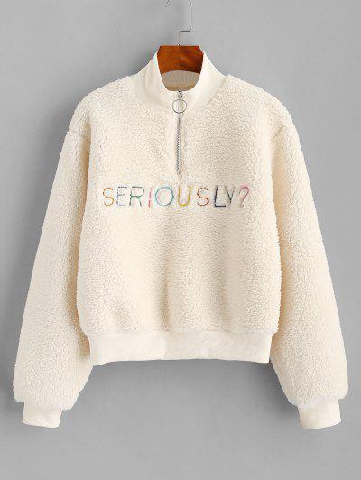 Sweat-Shirt Fourré à Demi-Zip Lettre Brodée - Blanc S