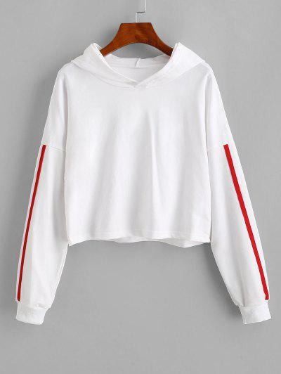 Dropped Shoulder Side Stripe Cropped Hoodie - White L