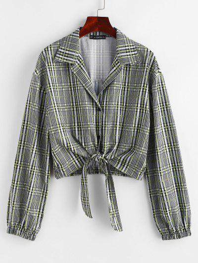 Plaid Tie Front Button Up Lapel Shirt - Gray M