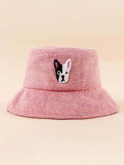 Embroidered Puppy Pattern Bucket Hat - Light Pink