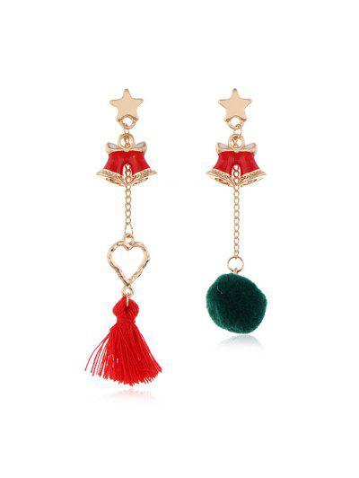 Christmas Asymmetric Tassel Earrings - Multi-a