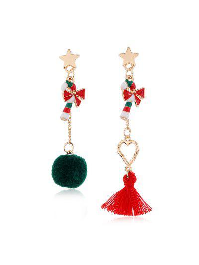 Christmas Asymmetric Tassel Earrings - Multi-b