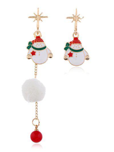 Boucles D'Oreilles Asymétriques De Noël Avec Pompon - Blanc