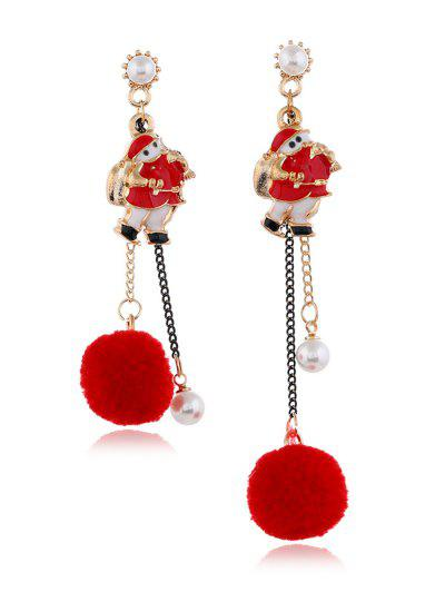Christmas Asymmetrical Pom Pom Earrings - Red
