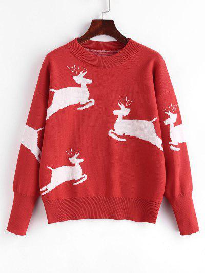 Christmas Elk Graphic Drop Shoulder Sweater - Red