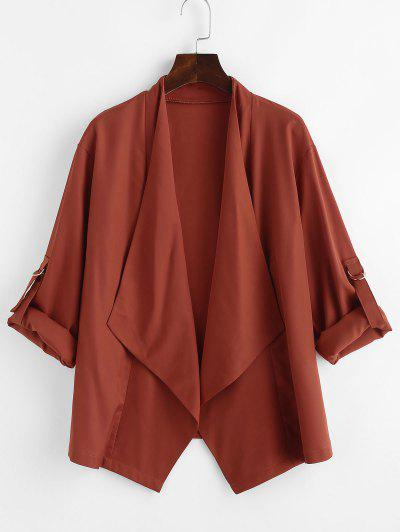 Roll Tab Sleeve Waterfall Draped Blazer - Coffee L