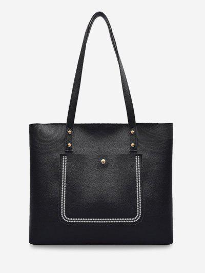 Large Capacity Pure Color Tote Bag - Black