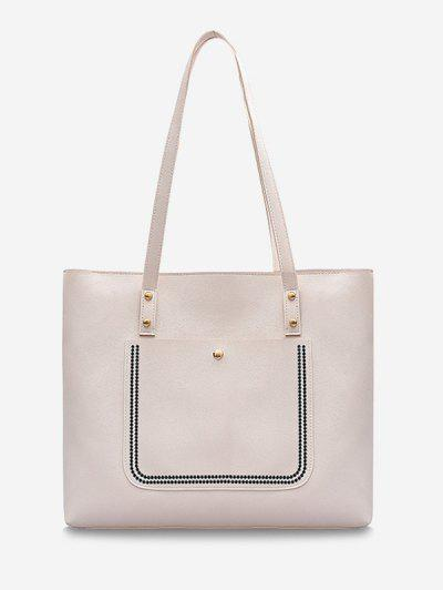 Große Kapazität Reine Farbe Tasche - Milchweiß