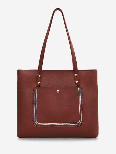 Large Capacity Pure Color Tote Bag - Brown