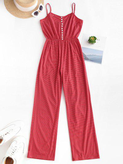 Striped Button Loop Cami Lounge Sleep Jumpsuit - Red L