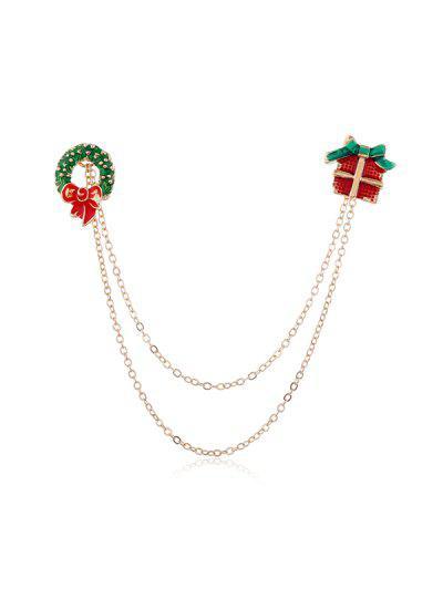 Christmas Glazed Chain Collar Brooch - Multi-e