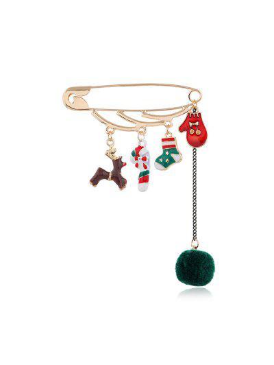 Christmas Fringe Safe Pin Brooch - Multi-b