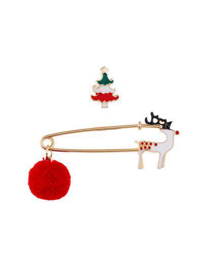 2Pcs Christmas Pom Pom Brooch Set - Multi-c
