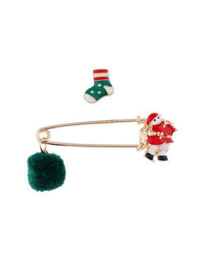 2Pcs Christmas Pom Pom Brooch Set - Multi-e