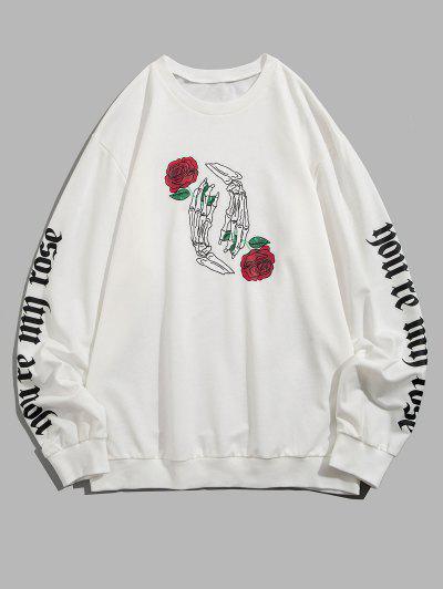 Halloween Skeleton Rose Print Slogan Sweatshirt - White 2xl
