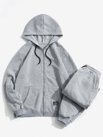 Patch Fleece Hoodie And Sweatpants Two Piece Set - Light Gray L