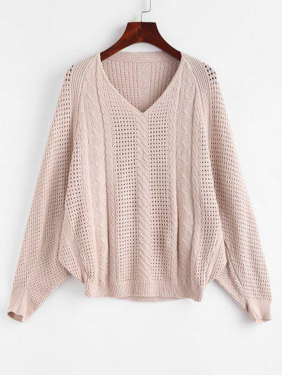 Openwork Cable Knit Batwing Sweater - Light Coffee