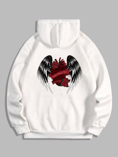 Rose Heart Wing Happy Valentine's Day Print Fleece Hoodie - White L