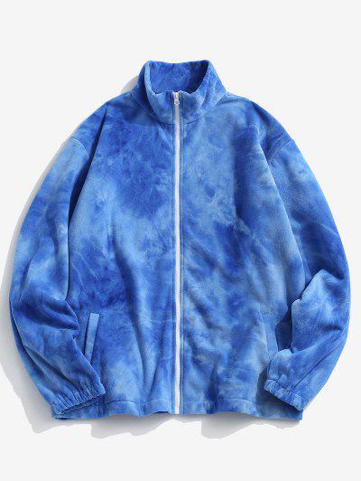 Krawattenfärbender Muster Reißverschluss Vlies Jacke - Blau Xl