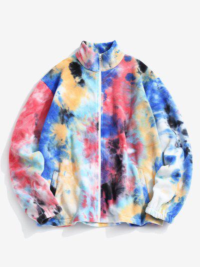 Tie Dye Pattern Zip Up Fleece Jacket - Multi-a S