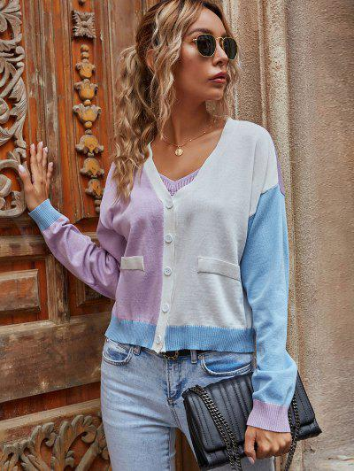 Button Up Colorblock Cardigan - Helles Lila S
