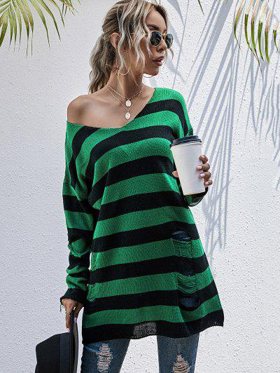 Ripped Skew Neck Colorblock Stripe Sweater - Deep Green S