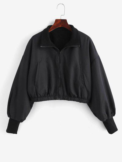 Zip Up Fleece Lined Bomber Jacket - Black L