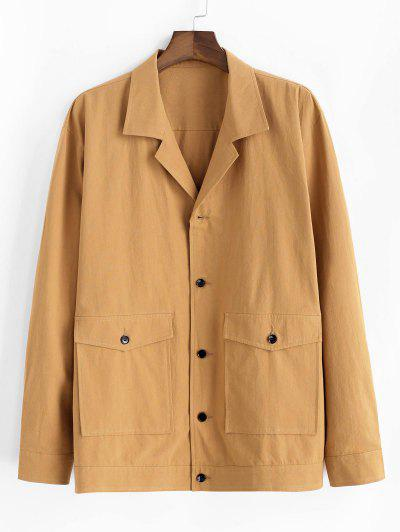 Button Up Notched Collar Flap Pocket Jacket - Yellow M