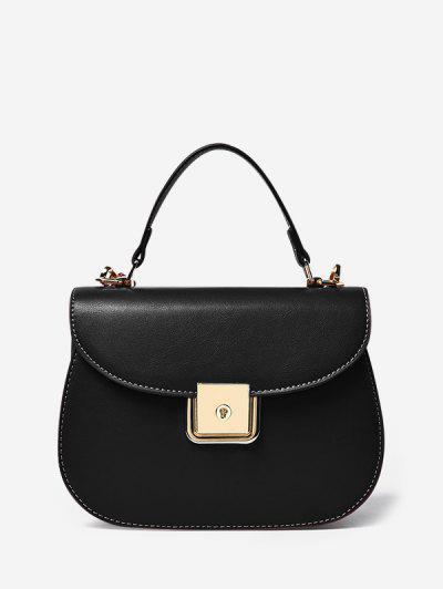 PU Leather Flap Saddle Bag - Black