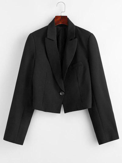 Padded Shoulder One Shoulder Lapel Blazer - Black M
