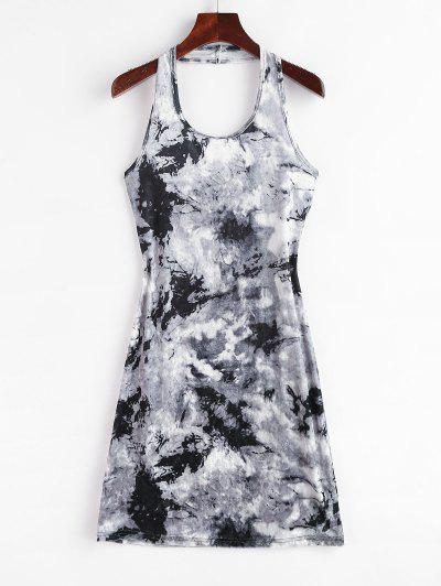 Tie Dye Velvet Halter Bodycon Dress - Gray S