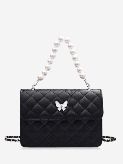 Faux Pearl Double Strap Butterfly Detail Crossbody Bag - Black